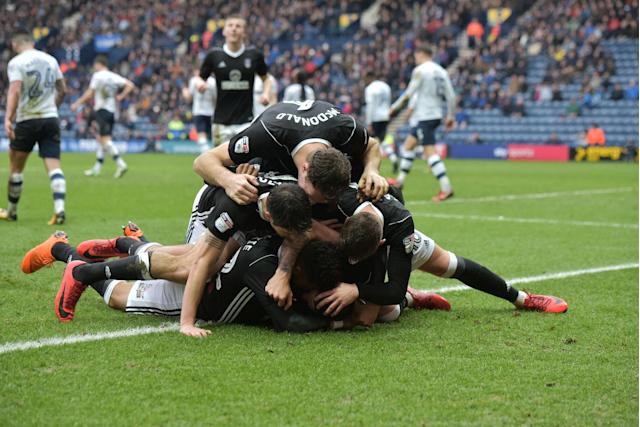"Soccer Football - Championship - Preston North End vs Fulham - Deepdale, Preston, Britain - March 10, 2018 FulhamÕs Aleksandar Mitrovic celebrates with team mates after scoring their first goal Action Images/Paul Burrows EDITORIAL USE ONLY. No use with unauthorized audio, video, data, fixture lists, club/league logos or ""live"" services. Online in-match use limited to 75 images, no video emulation. No use in betting, games or single club/league/player publications. Please contact your account representative for further details."