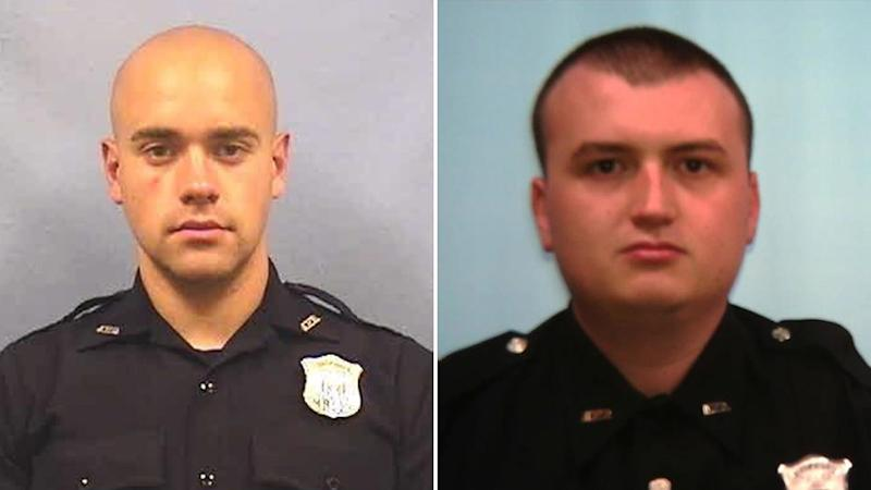 Police officer Garrett Rolfe (left) faces murder charges over the death of Rayshard Brooks, while Devin Bronsan (right) has been placed on administrative duty