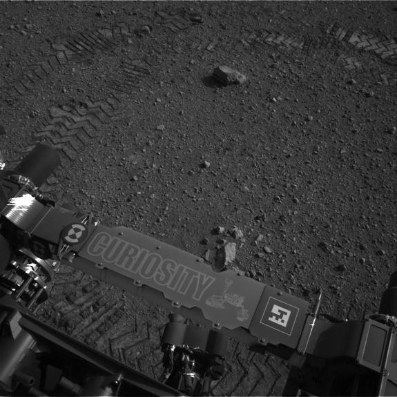 This image was taken by Navcam: Left A (NAV_LEFT_A) onboard NASA's Mars rover Curiosity on Sol 16 (2012-08-22 15:16:35 UTC).