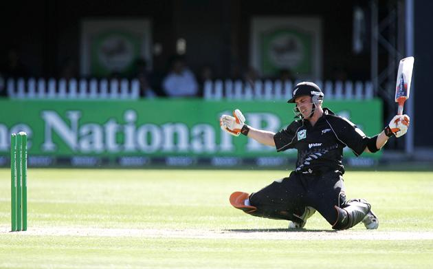 CHRISTCHURCH, NEW ZEALAND - FEBRUARY 25: Brendon McCullum of New Zealand shows his despair at being run out during the third one day international match between New Zealand and the West Indies at Jade Stadium February 25, 2006 in Christchurch, New Zealand.  (Photo by Phil Walter/Getty Images)