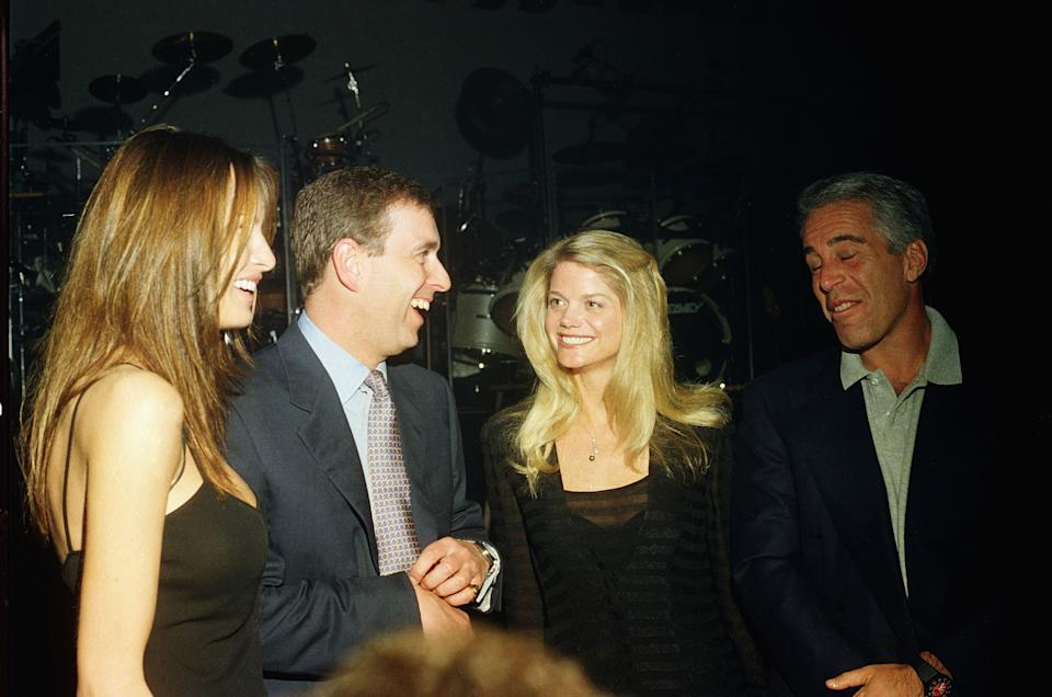 Melania Trump, Prince Andrew, Gwendolyn Beck and Jeffrey Epstein at a party at the Mar-a-Lago club, Palm Beach, Florida in February 2000. (Photo by Davidoff Studios/Getty Images)