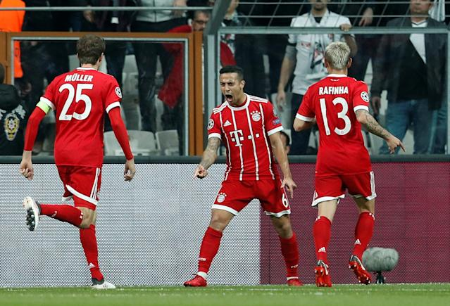 Soccer Football - Champions League Round of 16 Second Leg - Besiktas vs Bayern Munich - Vodafone Arena, Istanbul, Turkey - March 14, 2018 Bayern Munich's Thiago Alcantara celebrates scoring their first goal REUTERS/Murad Sezer