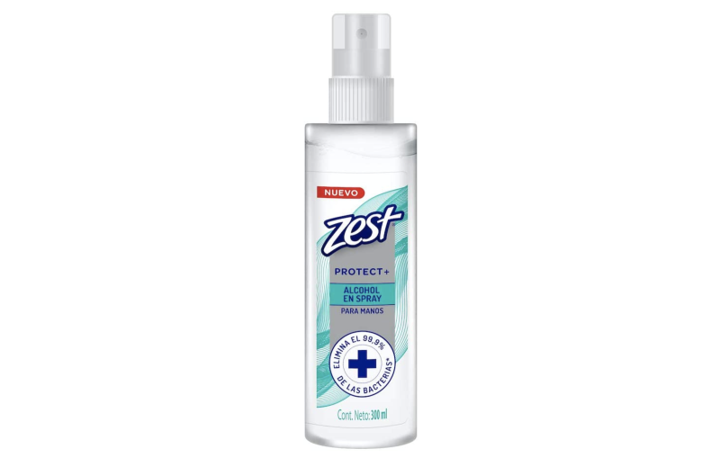 Zest alcohol antibacterial en spray de 300ml. Foto: amazon.com.mx