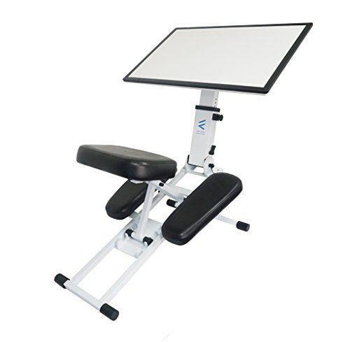 """<p><strong>The Edge Desk System</strong></p><p>theedgedesk.com</p><p><strong>$399.00</strong></p><p><a href=""""https://www.theedgedesk.com/shop-the-desk/the-edge-desk-platinum-white/"""" rel=""""nofollow noopener"""" target=""""_blank"""" data-ylk=""""slk:Shop Now"""" class=""""link rapid-noclick-resp"""">Shop Now</a></p><p>A hybrid between a traditional desk and a standing desk, The Edge Desk's kneeling model combines elements of a standing and sitting workstation perfectly. With a recommended weight capacity of 250lbs, this kneeling desk can support your weight as your lean forward into your work, with ample room for a laptop, notebooks, or even a sketchbook. The best part? Unlike other standing or traditional desks, this kneeling desk can be easily packed up and moved to outdoor locations. Rothman notes it's extremely easy to assemble and can be adjusted in a variety of heights or angles; but since it's a manual operation, you'll have to readjust each time you move it.<br></p>"""
