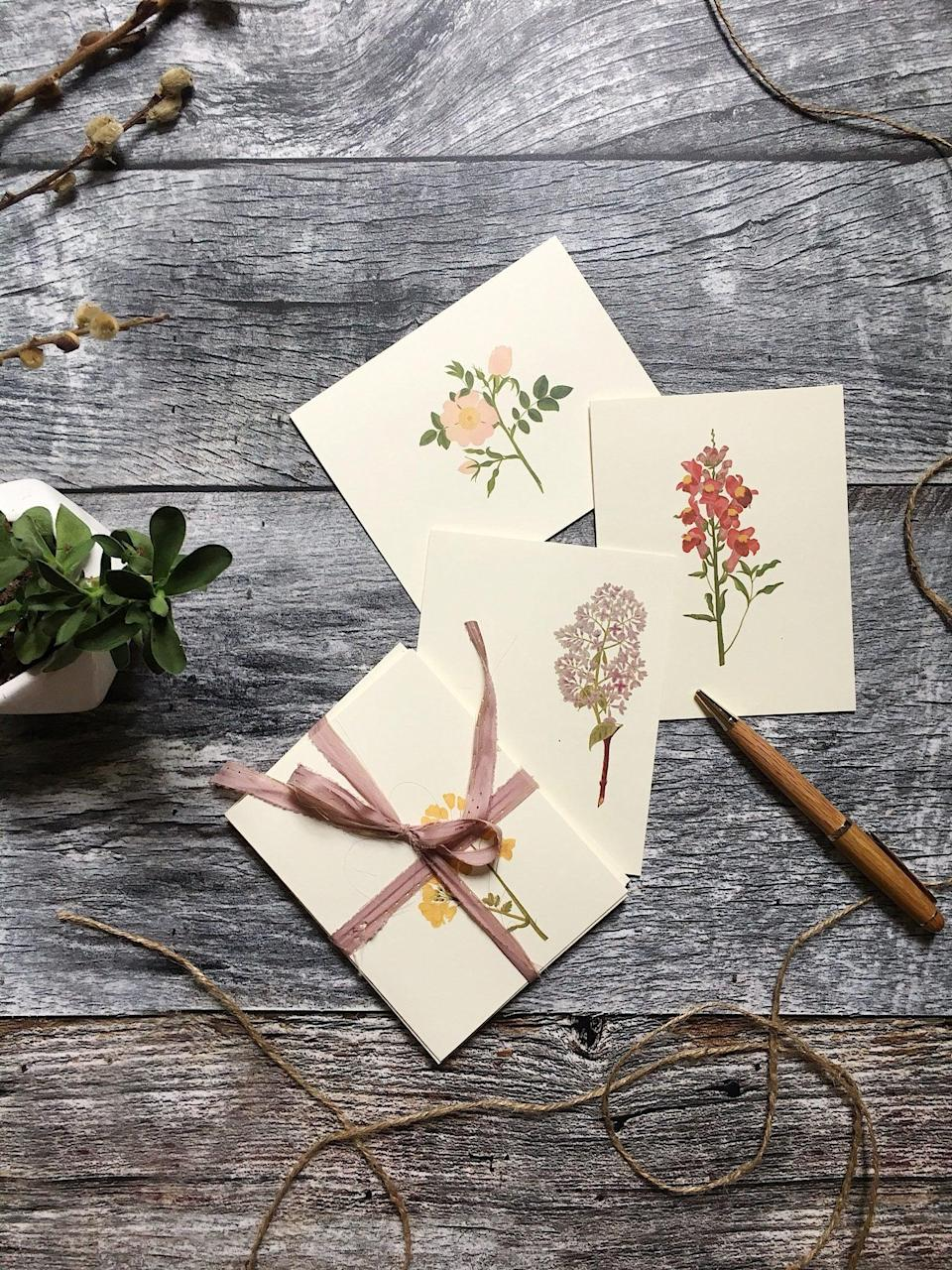 "While we can't be near loved ones as much as we'd like to, handwritten notes and thank you gifts carry even more meaning these days, and pretty stationary is a thoughtful tool anyone can get use out of. $12, Etsy. <a href=""https://www.etsy.com/listing/638871139/blank-cards-flower-flower-cards-and"" rel=""nofollow noopener"" target=""_blank"" data-ylk=""slk:Get it now!"" class=""link rapid-noclick-resp"">Get it now!</a>"