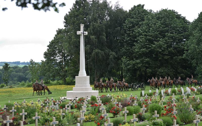 Commonwealth War Graves can have a cross or star of David. Image is of the First World War centenary commemorative event at the Commonwealth War Graves Commission's Thiepval Memorial to the Missing - Geoff Pugh