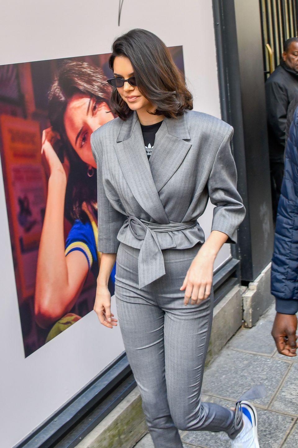<p>To celebrate the launch of Adidas Originals Arkyn, #GirlBoss Kendall showed up to the event in Paris in this tailored Carmen March suit.</p>