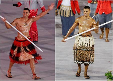 The 34-year-old Taufatofua also carried his country's flag at the 2016 Summer Olympics in Rio de Janeiro (R) where he competed in taekwondo. REUTERS/Eric Gaillard/Stoyan Nenov