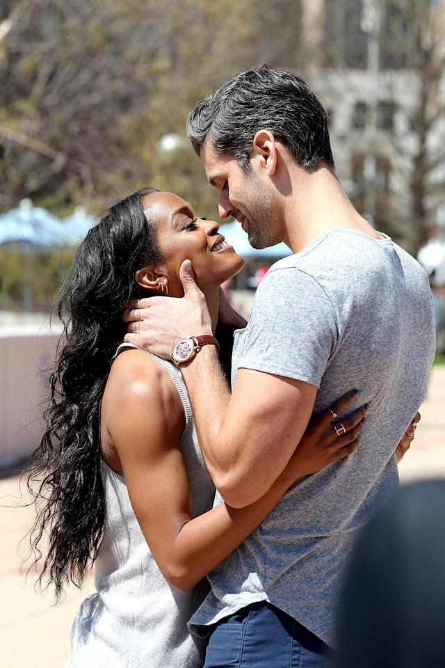 <p>Rachel Lindsay and Peter in ABC's The Bachelorette. <br>(Photo: George Burns/ABC) </p>