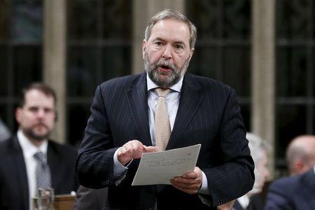 NDP leader Mulcair speaks in the House of Commons in Ottawa