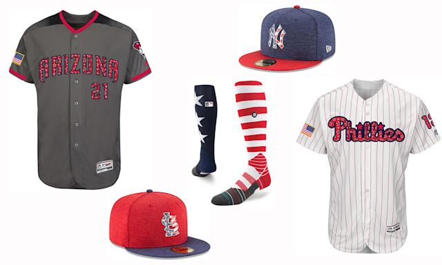 Jerseys, caps and socks for Fourth of July. (MLB)