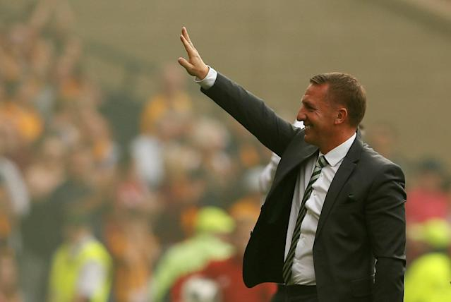 Soccer Football - Scottish Cup Final - Celtic vs Motherwell - Hampden Park, Glasgow, Britain - May 19, 2018 Celtic manager Brendan Rodgers salutes the fans after the match Action Images via Reuters/Jason Cairnduff