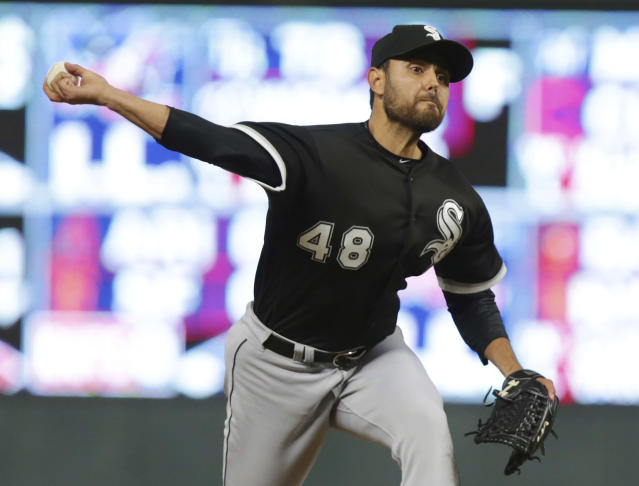 "Veteran right-hander <a class=""link rapid-noclick-resp"" href=""/mlb/players/7964/"" data-ylk=""slk:Joakim Soria"">Joakim Soria</a> was Chicago's last reliever standing on Tuesday (AP/Andy Clayton-King)"