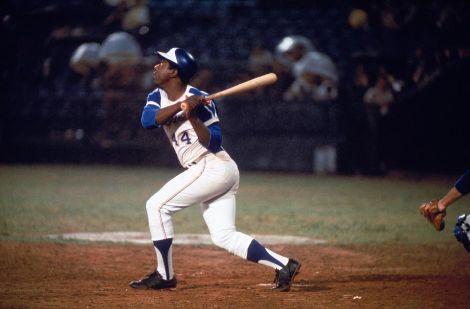 Hall of Famer Hank Aaron of the Atlanta Braves swings at the ball. (Photo by Focus On Sport/Getty Images) (Photo: Focus On Sport via Getty Images)