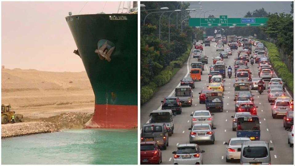 The giant container vessel blocking the Suez Canal and the Central Expressway in Singapore. (PHOTOS: Suez Canal Authority/Yahoo News Singapore)