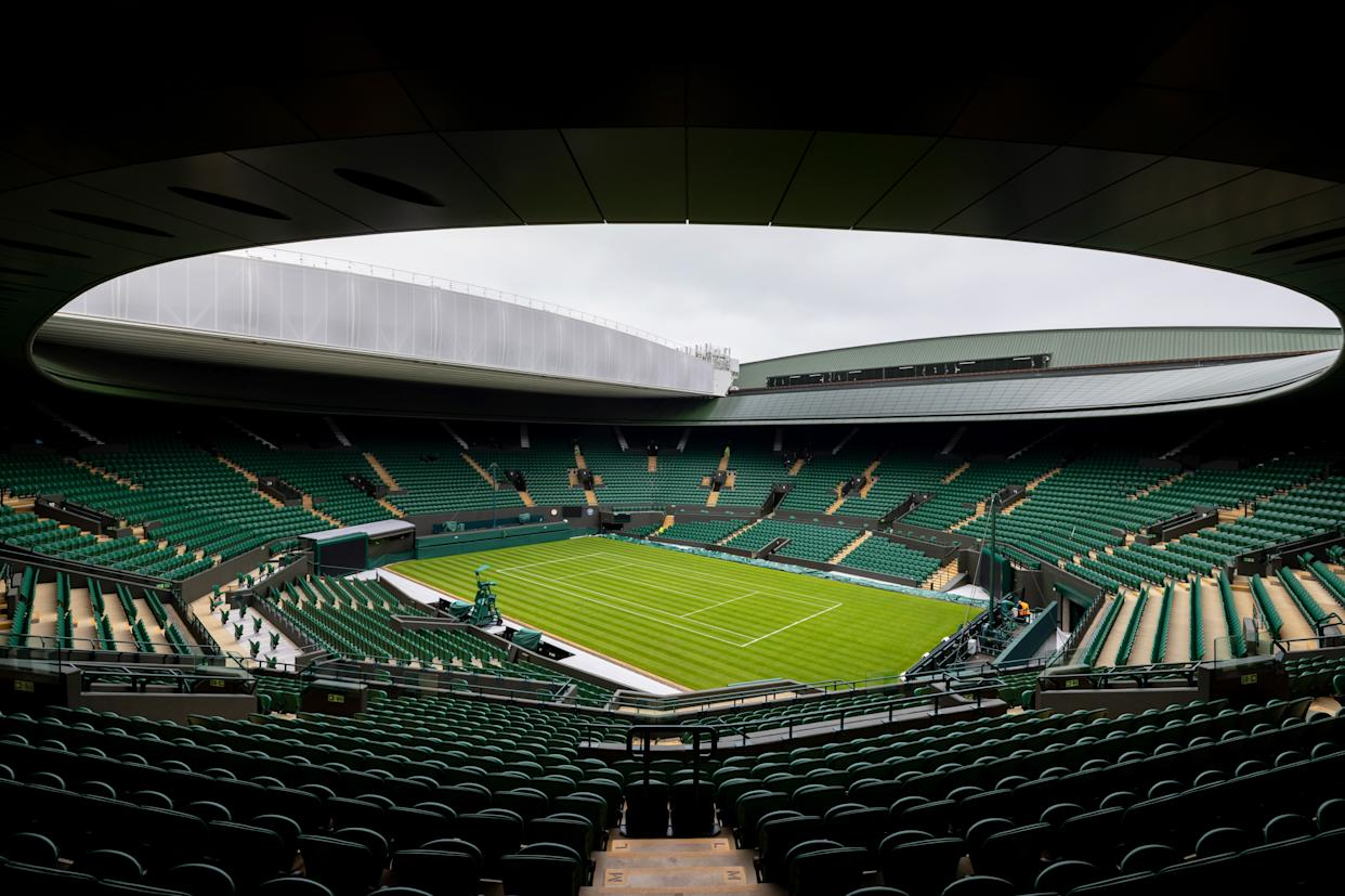LONDON, ENGLAND - JUNE 27: A general view of No.1 court ahead of The Championships - Wimbledon 2021 at All England Lawn Tennis and Croquet Club on June 27, 2021 in London, England. (Photo by AELTC/Pool/Getty Images)