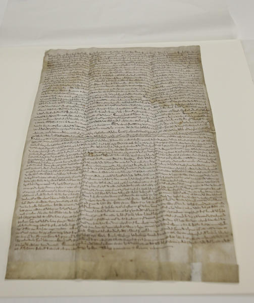 In this Wednesday, Feb. 5, 2014 photo, the historic Magna Carta lies on a table in a museum workroom, in Houston. The centuries old parchment, which has never left England before, will be on display at the Houston Museum of Natural Science for six months starting Feb. 14, 2014. (AP Photo/Pat Sullivan)