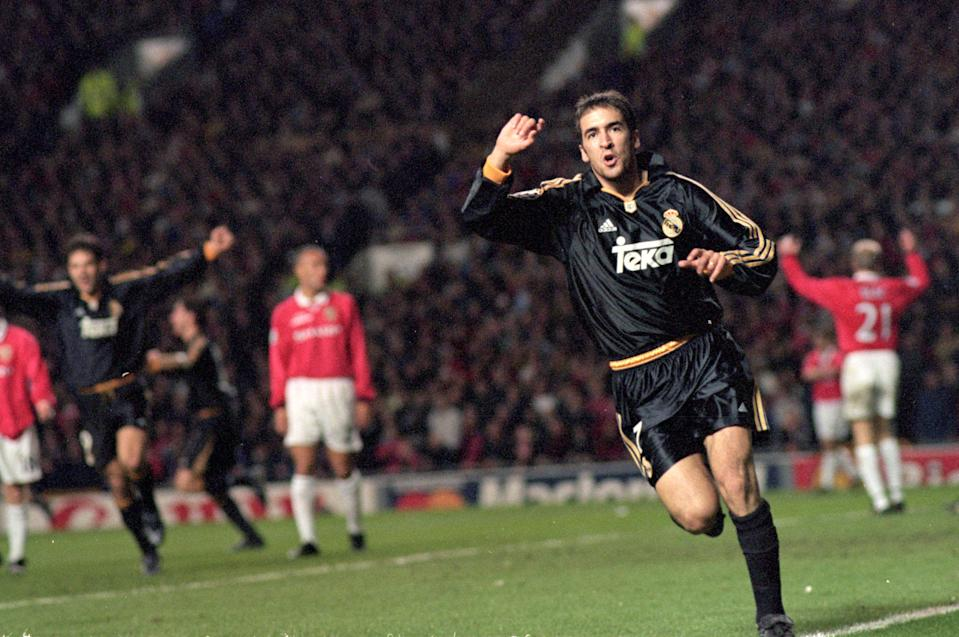19 Apr 2000:  Raul of Real Madrid celebrates his goal during the UEFA Champions League quarter-final second leg against Manchester United at Old Trafford in Manchester, England.  Real Madrid won the match 3-2. \ Mandatory Credit: Michael Steele /Allsport