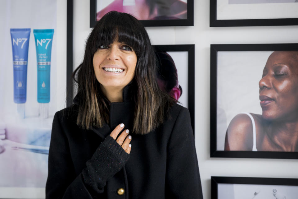 Claudia Winkleman announces partnership with No7 at No7 Laboratories Skin Clinic on April 10, 2019 in London, England.  (Photo by Tristan Fewings/Getty Images)