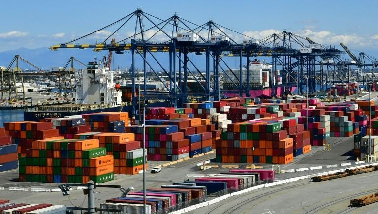 Containers are seen at the Port of Los Angeles on March 26, 2020 as the economy faces severe pressure from the coronavirus