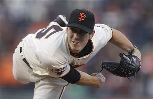 San Francisco Giants' Tim Lincecum follows through as he pitches to the Philadelphia Phillies in the first inning of a baseball game Tuesday, May 7, 2013, in San Francisco. (AP Photo/Ben Margot)