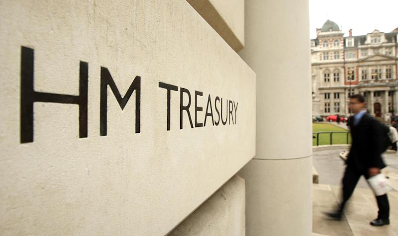 General view of the entrance to the HM Treasury building, in Westminster, central London.