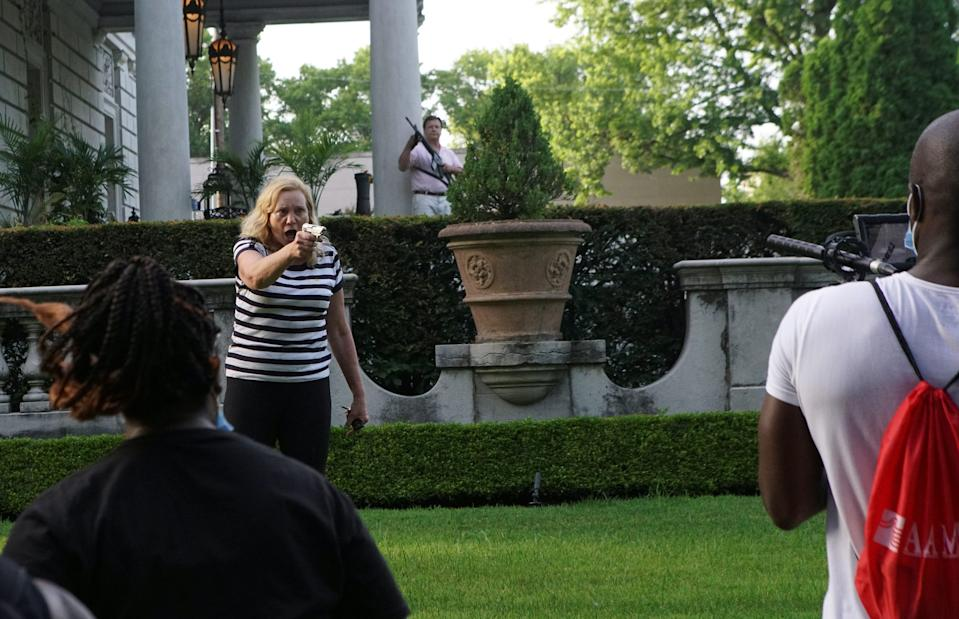 The protesters were marching to a demonstration outside Mayor Lyda Krewson's house.