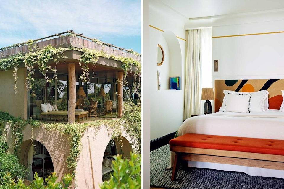 Photos of hotels in St Tropez showing an ivy-colored exterior and a red and white guest room