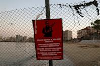 A Turkish army sign on a fence in Varosha
