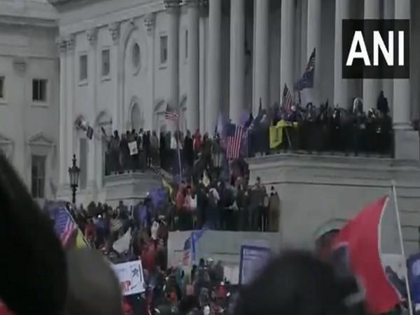 Protests outside the US Capitol in Washington (Photo/ANI)