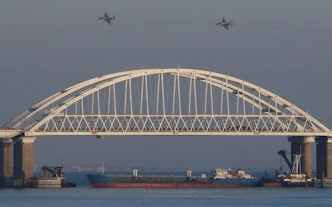 Russia blocked the Kerch Strait with a tanker before seizing Ukrainian navy ships that tried to sail through last month - Credit: Pavel Rebrov/Reuters