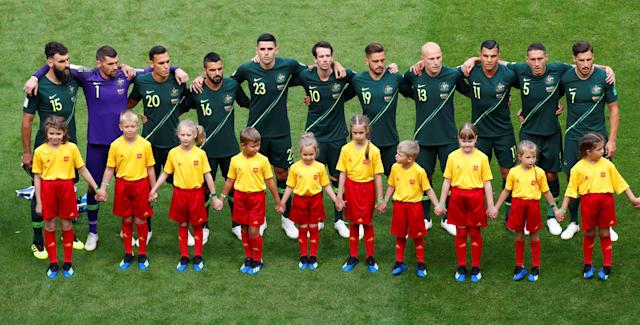 Soccer Football - World Cup - Group C - Denmark vs Australia - Samara Arena, Samara, Russia - June 21, 2018 Australia players line up during the national anthems before the match REUTERS/David Gray