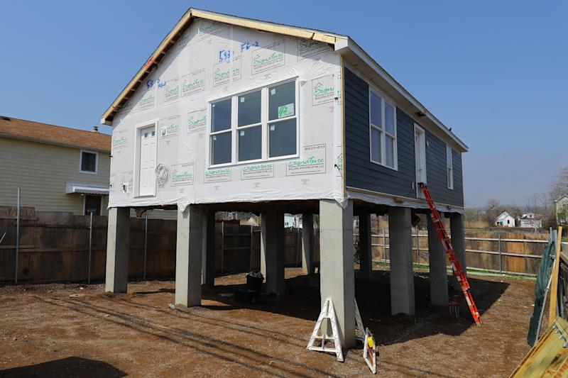 A home under renovation five years after Hurricane Sandy hit the Ocean Breeze neighborhood of Staten Island
