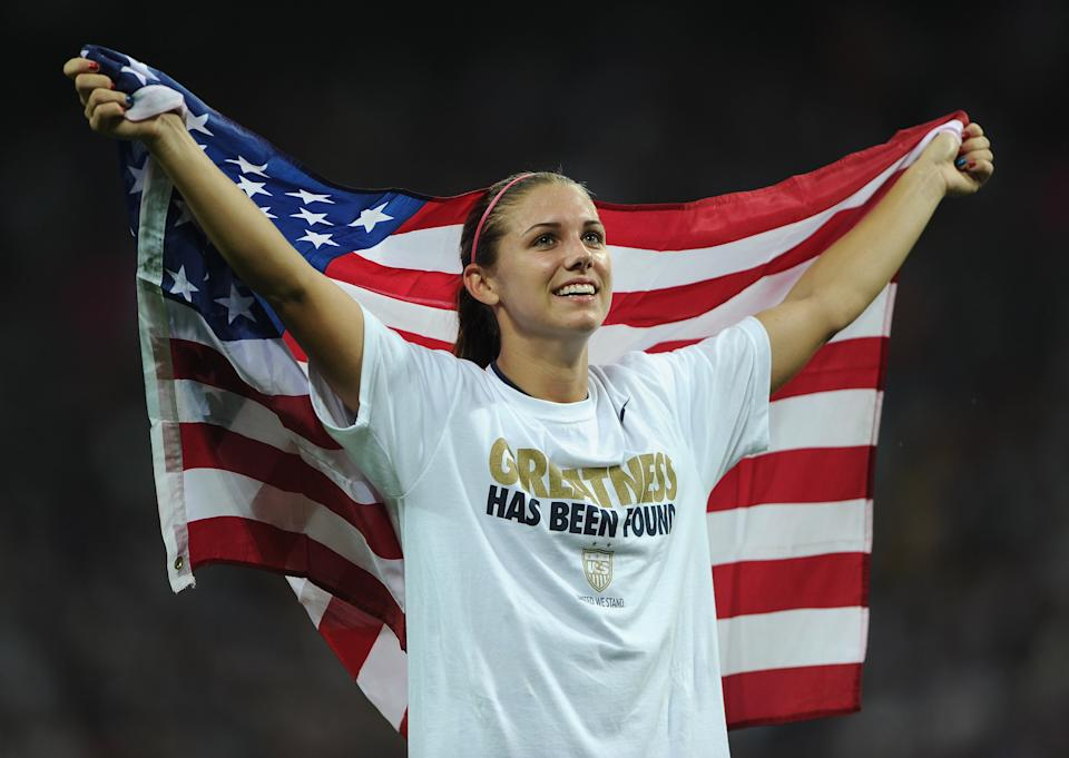 LONDON, ENGLAND - AUGUST 09:  Carli Lloyd of USA celebrates her team's winning the Olympic womens final match between USA and Japan on day 13 of the London 2012 Olympic Games at Wembley Stadium on August 9, 2012 in London, England.  (Photo by Stuart Franklin - FIFA/FIFA via Getty Images)