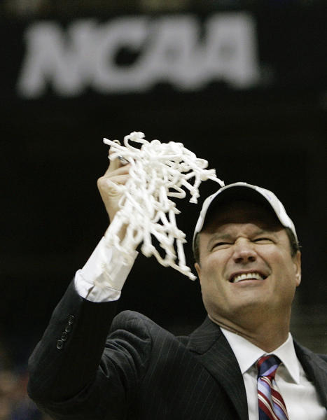 FILE - In this April 7, 2008, file photo, Kansas head coach Bill Self celebrates his 75-68 victory over Memphis in the championship game at the NCAA college basketball Final Four tournament in San Antonio. Self was elected to The Naismith Basketball Hall of Fame on Saturday, April 1, 2017.(AP Photo/Mark Humphrey, File)