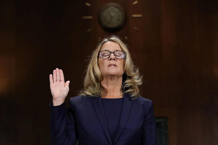 Christine Blasey Ford is sworn in before testifying in front of the Senate Judiciary Committee. (Photo: Win McNamee/Pool via Reuters)