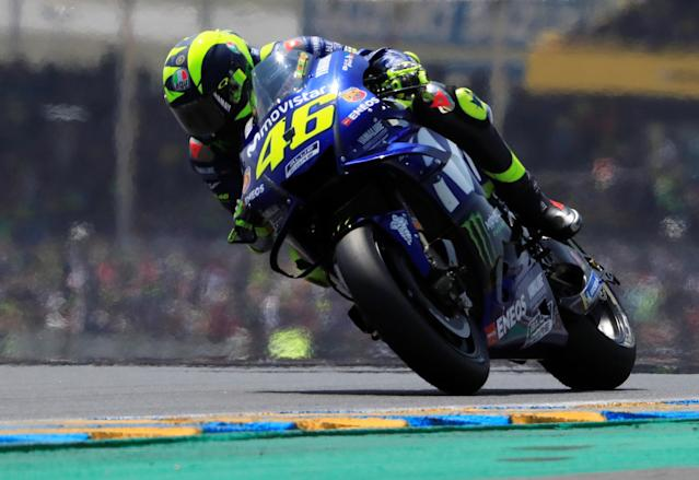 Motorcycling - MotoGP - French Grand Prix - Bugatti Circuit, Le Mans, France - May 20, 2018 Movistar Yamaha MotoGP's Valentino Rossi during the race REUTERS/Gonzalo Fuentes