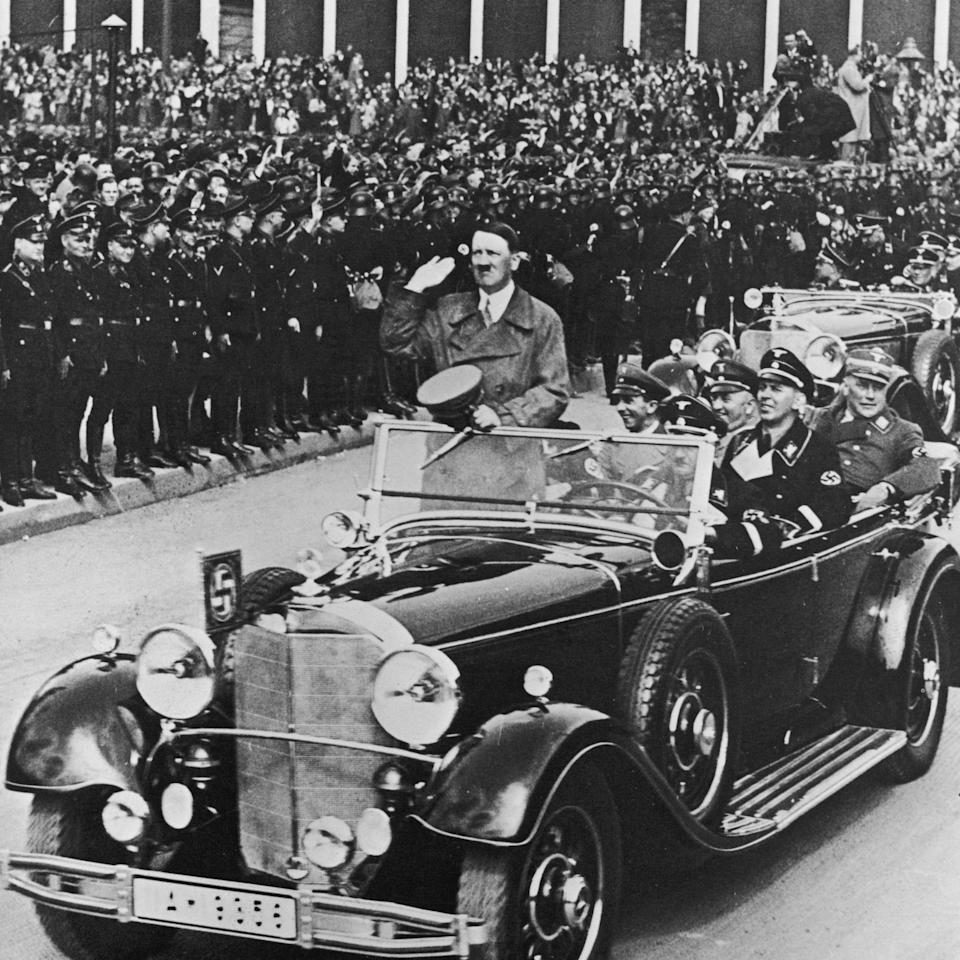 The front passenger seat had a platform under it on which Hitler could stand and speak to his followers - Hulton Archive