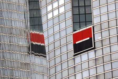 FILE PHOTO: The logo of French bank Societe Generale is seen on the company's headquarters in Puteaux at the financial and business district of La Defense near Paris