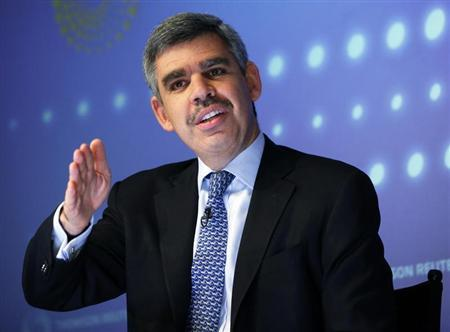 PIMCO's Chief Executive Officer and Co-Chief Investment Officer El-Erian speaks during an interview at Thomson Reuters in New York