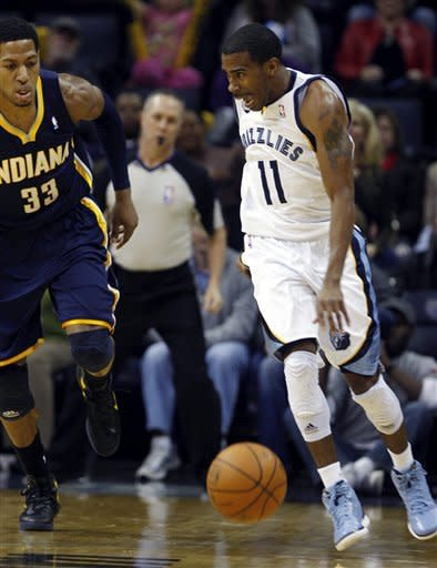 Memphis Grizzlies guard Mike Conley (11) drives to the basket past Indiana Pacers forward Danny Granger (33) in the first half of an NBA basketball game on Friday, Feb. 10, 2012, in Memphis, Tenn. (AP Photo/Alan Spearman)