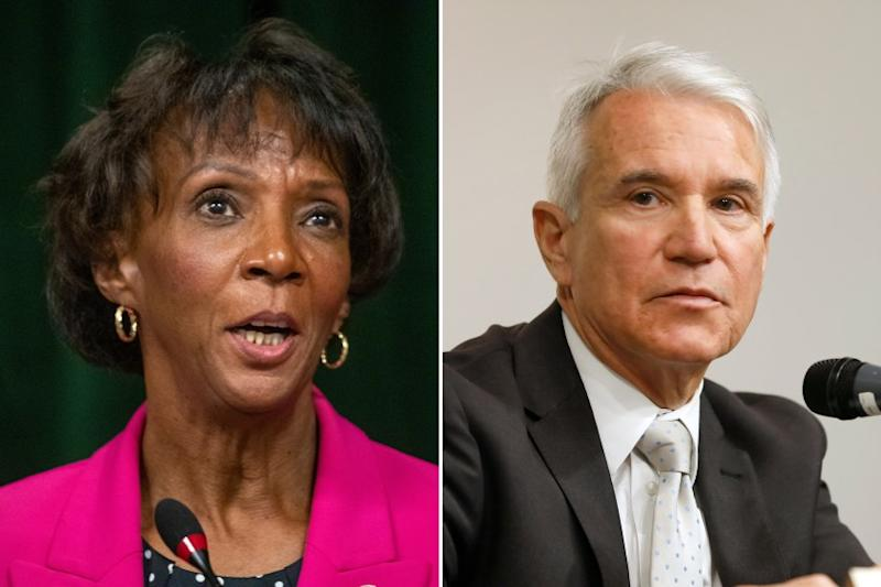 Left, Los Angeles County District Attorney Jackie Lacey during a press conference at the Hall of Justice in Los Angeles, Calif., on Nov. 15, 2019. Right, former San Francisco District Attorney George Gascon took part in the debate at the California African-American Museum on Wednesday, Dec. 11, 2019. (Allen J. Schaben / Carolyn Cole/Los Angeles Times)