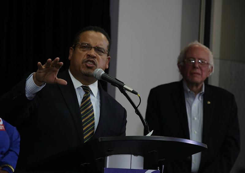 Rep. Keith Ellison (D-Minn.), left, is a longtime ally of Sen. Bernie Sanders (I-Vt.). (Alex Wong/Getty Images)