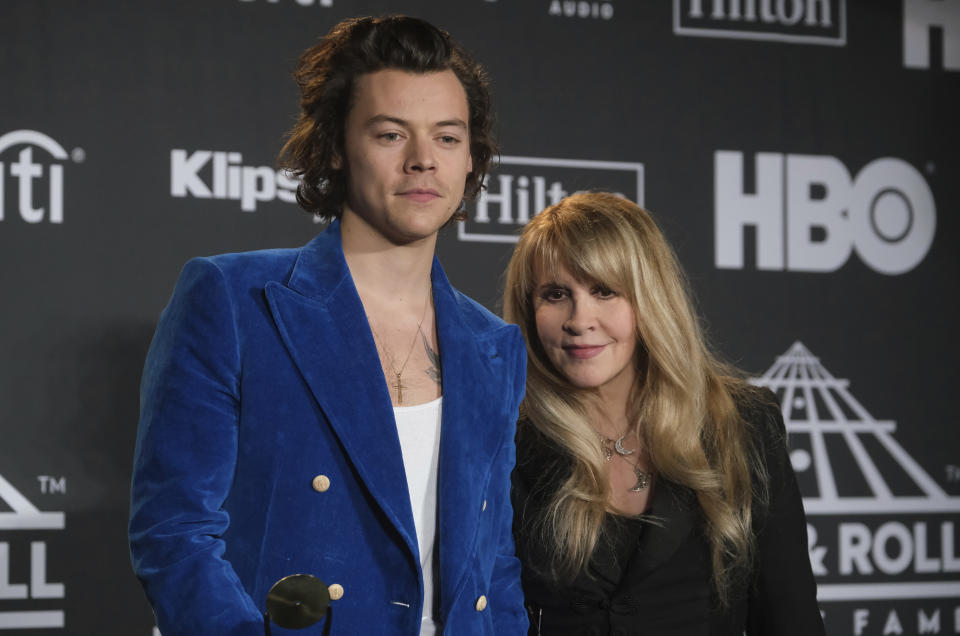 Harry Styles, left, and inductee Stevie Nicks pose in the press room at the Rock & Roll Hall of Fame induction ceremony at the Barclays Center on Friday, March 29, 2019, in New York. (Photo by Charles Sykes/Invision/AP)