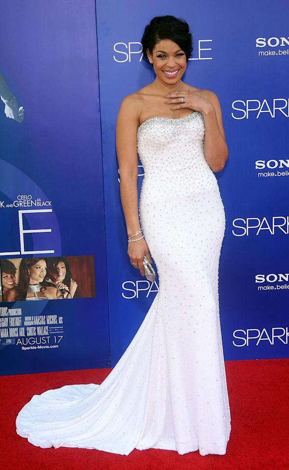 "HOLLYWOOD, CA - AUGUST 16:  Actress/singer Jordin Sparks arrives at the Los Angeles Premiere of ""Sparkle"" at Grauman's Chinese Theatre on August 16, 2012 in Hollywood, California.  (Photo by Maury Phillips/Getty Images For A+E Networks)"