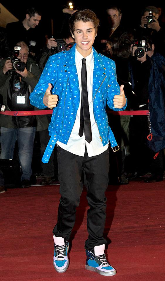 CANNES, FRANCE - JANUARY 28:  Justin Bieber attends the NRJ Music Awards 2012 at Palais des Festivals on January 28, 2012 in Cannes, France.  (Photo by Dominique Charriau/WireImage)