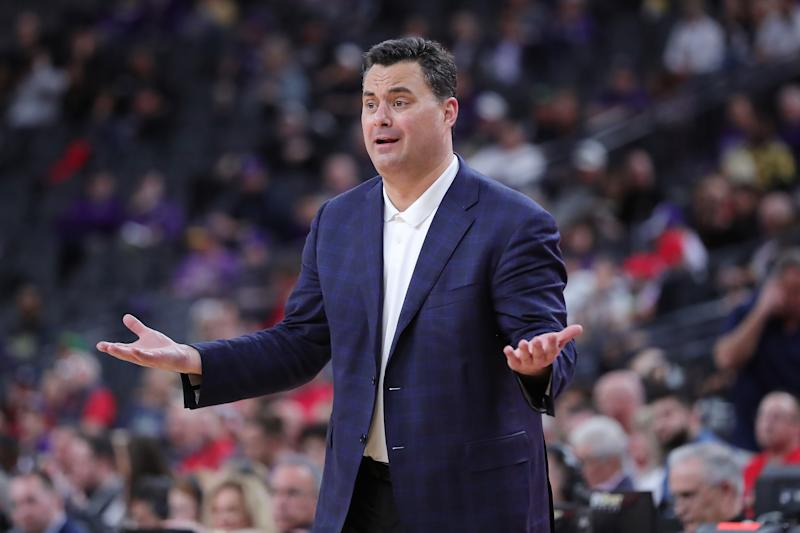 Arizona coach Sean Miller directs his team during a game against Washington on March 11, 2020. (Leon Bennett/Getty Images)