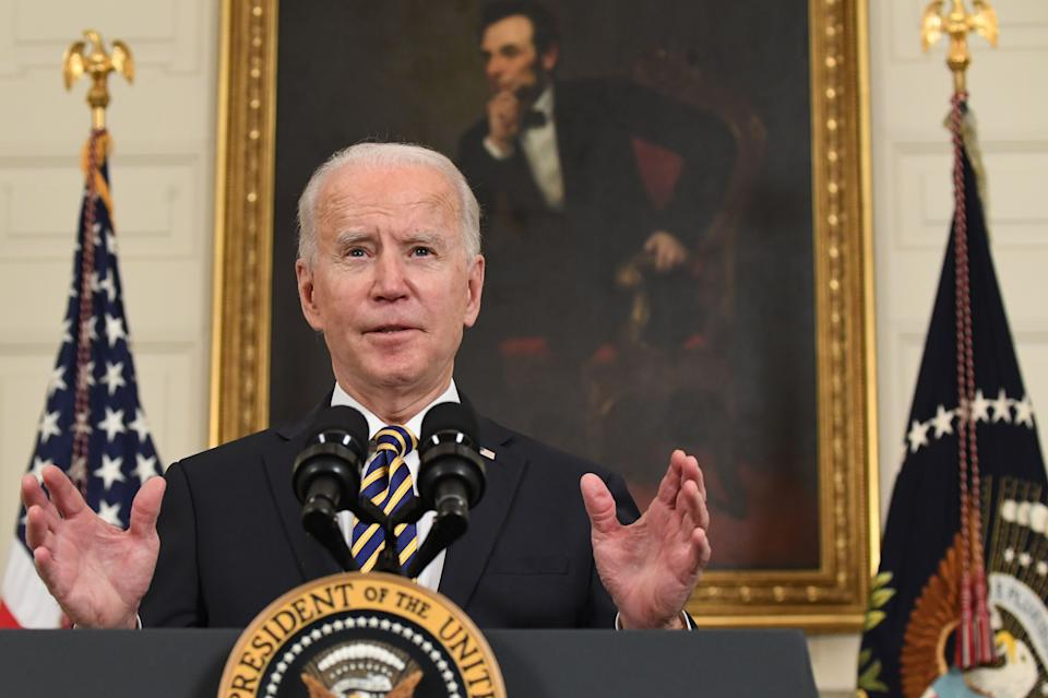 US President Joe Biden speaks before signing an executive order on securing critical supply chains on Feb. 24. (Photo: SAUL LOEB via Getty Images)