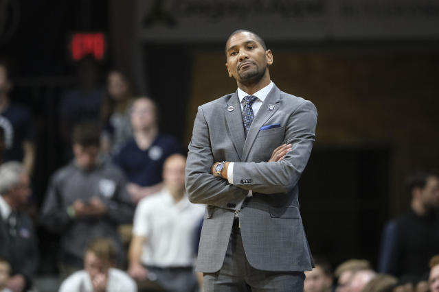 Butler head coach LaVall Jordan watches from the sideline as his team played Minnesota in the second half of an NCAA college basketball game in Indianapolis, Tuesday, Nov. 12, 2019. Butler won 64-56. (AP Photo/AJ Mast)