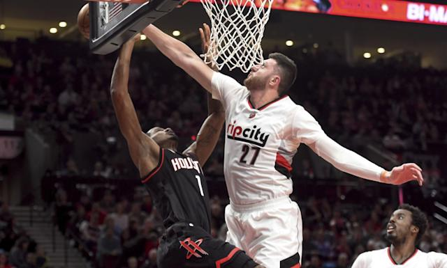 Jusuf Nurkic has averaged 15.2 points, 10.4 rebounds and two blocks per game for the Blazers. (AP)